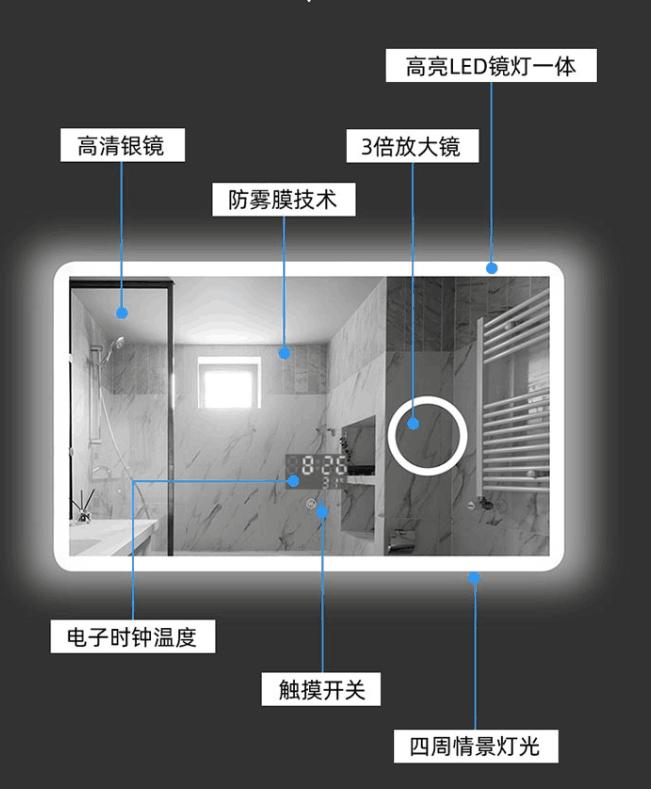 工厂批发智能浴室灯镜铝型材 多功能智能化妆镜框 方通防雾化妆壁挂LED发光镜铝框